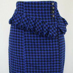 Nanette Lepore Blue & Black Pencil Skirt Size 2